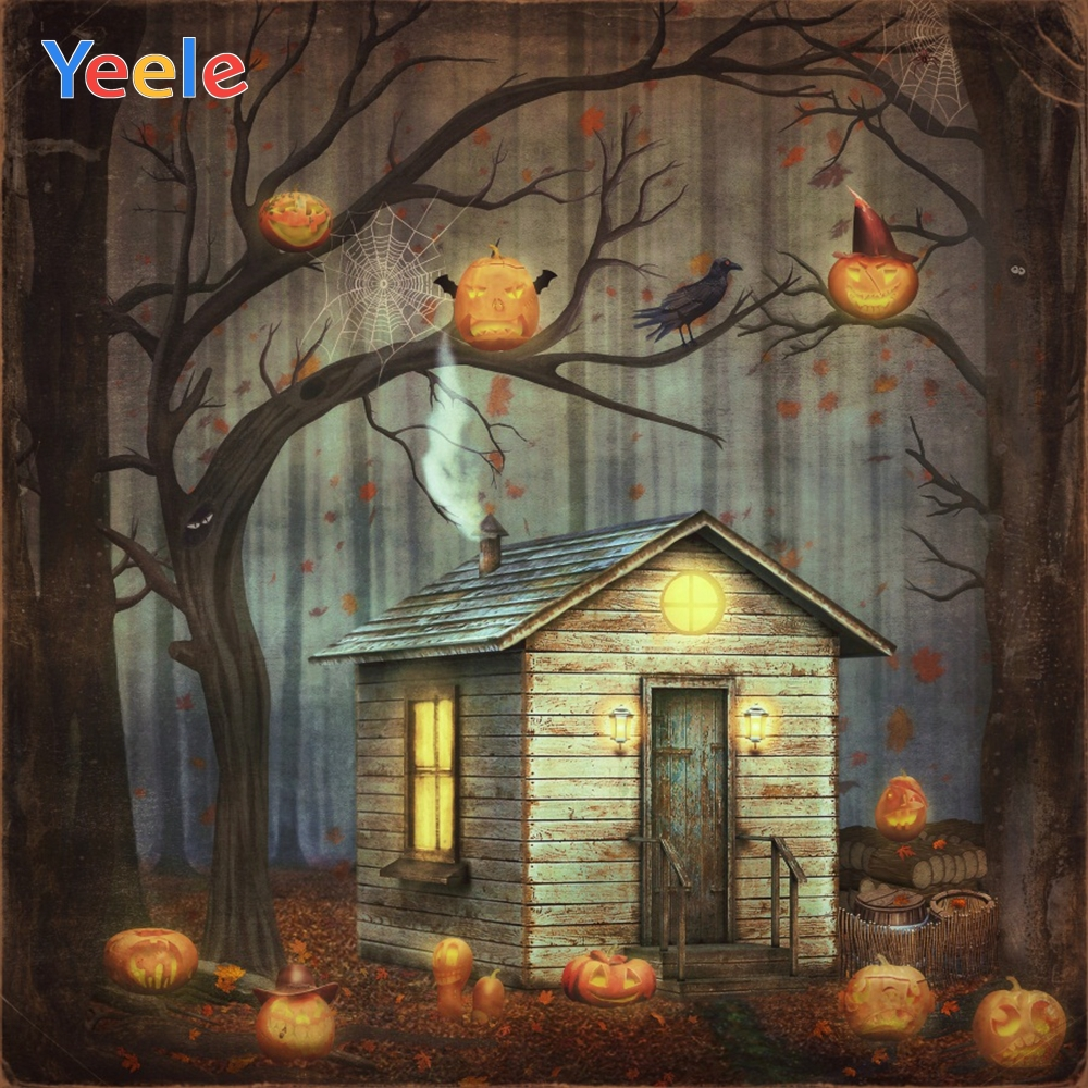 Yeele Halloween Pumpkin Lantern House Forest Scenic Photography Backgrounds Spider Web Photographic Backdrop for Photo Studio in Background from Consumer Electronics