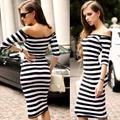 2016 Women Summer Dress Lady Sexy Half Sleeve Off Shoulder Stripe Stretch Party Dresses Cotton Blends Vestido YEUQ