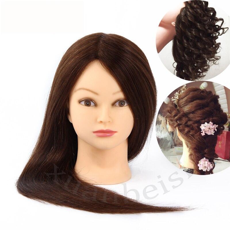 Tête de Mannequin en gros avec cheveux tête d'entraînement femme Manequim coiffures factices poupée cheveux bruns tête de Mannequin perruque tête