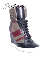 Sorbern Women Wedges Boots Sexy Lace Up Plus Size Ladies Party Winter Shoes Hot Sale Boots