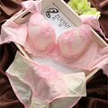 Mulheres Bordados Bra & Panties Set Flores Sólidos Roupa Interior roupa interior Conjuntos de Sutiã Sexy Plus Size Terno Lingerie 3-breasted Rosa Verde