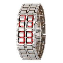 Лидер продаж черный, серебристый цвет вулканической лавы часы со светодиодным дисплеем Железный Самурай Нержавеющая сталь часы для Для мужчин Для женщин спортивные цифровые часы 50 шт./лот