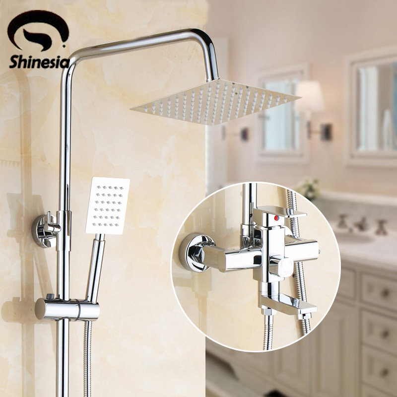 Chrome Finish Rainfall Shower Set Faucet 8 Shower Head with Hand Shower Mixer Tap Wall Mounted chrome polished rainfall solid brass shower bath thermostatic shower faucet set mixer tap with double hand sprayer wall mounted