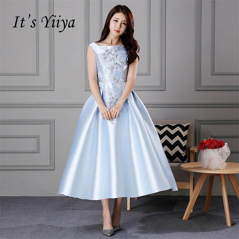 Aliexpress.com : Buy It's YiiYa Blue Boat Neck Flower