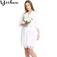 Female summer and autumn sexy pajamas robe cotton lace cardigan pajamas home clothes women