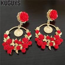 KUGUYS Vintage Red girlanda z róż kolczyki dla kobiet moda biżuteria barokowa hiperbola okrągła duża kropla kolczyk akcesoria imprezowe