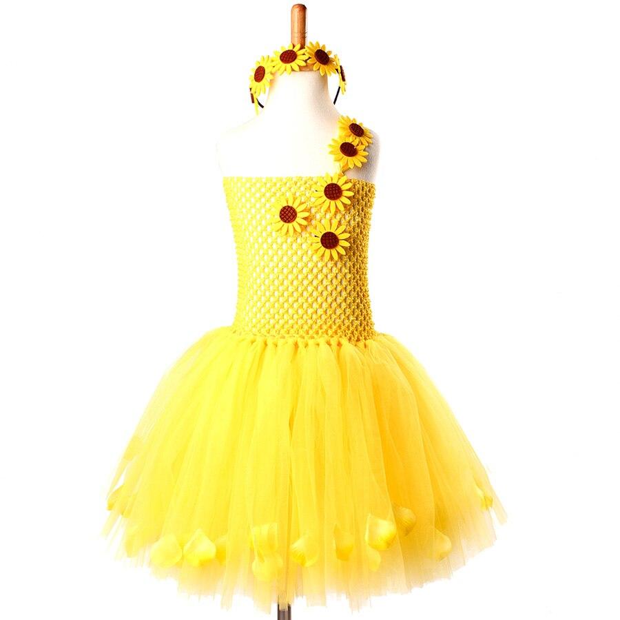 Toddler Baby Girls Sunflower Wedding Petals Dress Tutu Floral Princess Outfits
