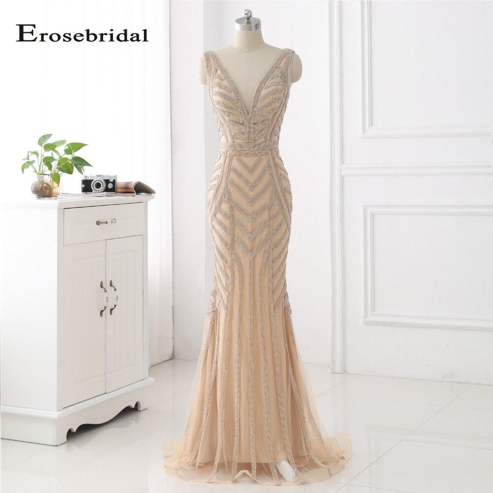 48 часов доставка вечернее платье цвета шампанского длинные эротические глубокий v образный вырез вечерние платья со шлейфом Женская одежда