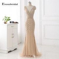 48 часов доставка вечернее платье цвета шампанского длинные Erosebridal глубоким v образным вырезом Вечерние платья со шлейфом Для женщин одежда