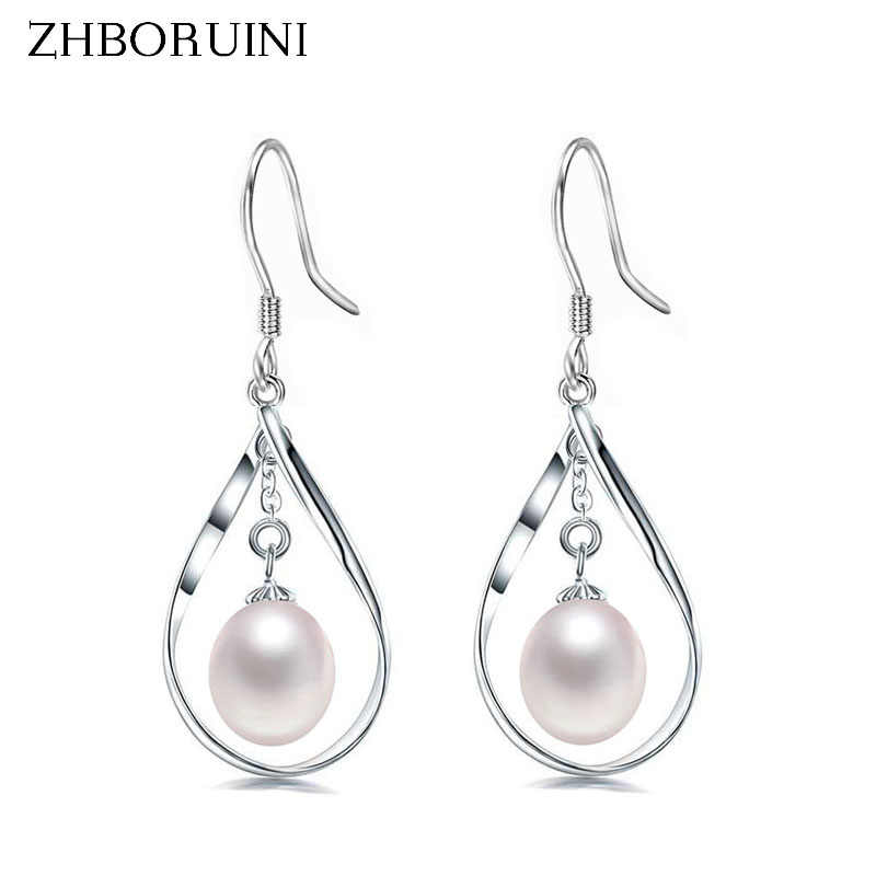 ZHBORUINI 2019 Pearl Earrings natural Freshwater Pearl Geometric Big Earring 925 sterling Silver Jewelry For Women Gift Box