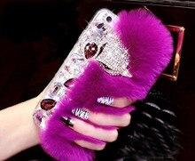Luksusowy diamentowy futrzany lis etui do iPhone