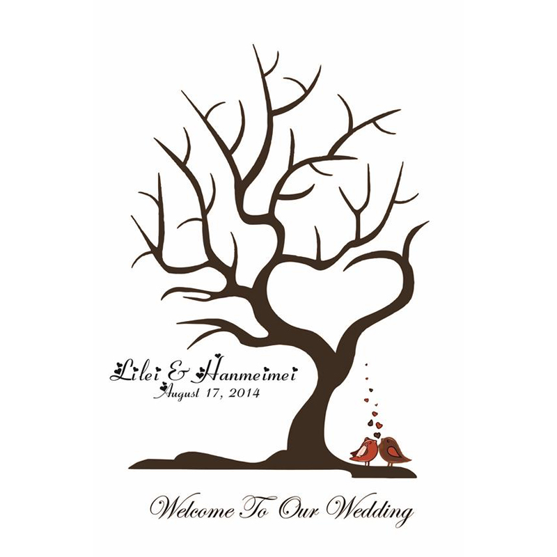 Wedding Tree Vector: 40x60CM Customize Wedding Fingerprint Tree Guestbook