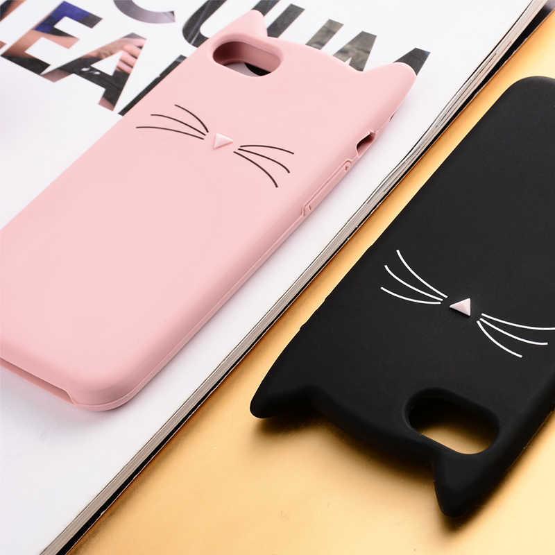 زوجين لطيف بريق ملتحي القط حقيبة لهاتف أي فون 6 6S 7 8 Plus X XR XS ماكس SE 5 5s 5C اسفنجي عشاق القط غطاء الهاتف المحمول أكياس