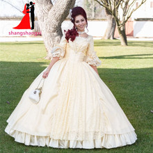 2017 New Real Princess Ball Gonw Wedding dresses Taffeta Lace Flate Sleeve Bridal Gown for Wedding party dress Halloween dresses