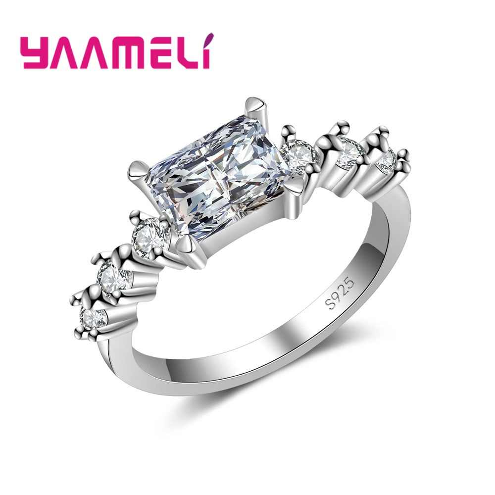 Luxury Brand Jewelry White Color Inlay Cubic Zirconia Unique Shaped 925 Silver Ring   for Women Wedding Engagement