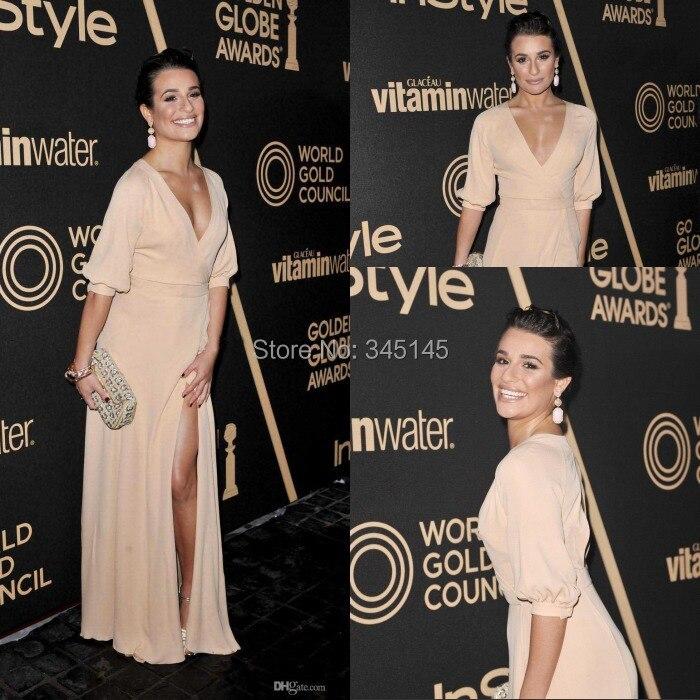 . Golden Globes Awards Kleider Sexy Long Sleeves-seiten-schlitz Chiffon Abendkleider Celebrity Kleider