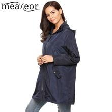 Meaneor Women's Spring Autumn Zip-Up Hooded Trenchcoats Drawstring Waist Cloak Waterproof Windproof Raincoat Winter Coat