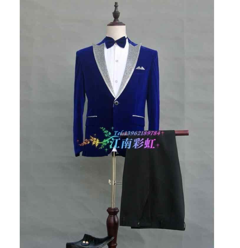 Костюмы для мужчин, набор, свадебные вечерние платья, зеленый фруктовый воротник, для сцены, для выступлений, вечерние костюмы для выступлений, винно-красный синий костюм певицы
