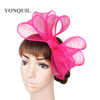 b8be7df02d143 Hot Pink bowknot fedora Sinamay Fascinator Church Hat bridal headpiece for Wedding  Kentucky Derby Ascot Races New Arrival OF1519