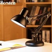 Horsten American Flexible Swing Arm Desk Lamp Student Study Dormitory Work Office Bedroom Desk Lamp Arm Folding Black Table Lamp
