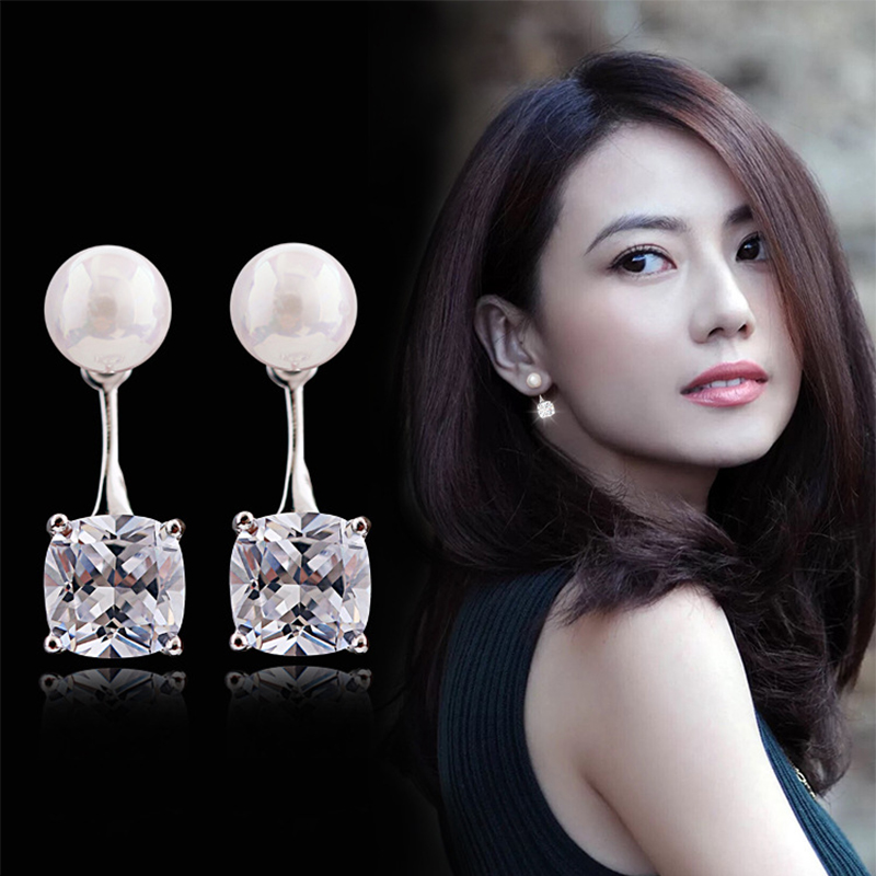 Hot sale Fashion Luxury Pearl Crystal Stud Earrings Square Design 925 Silver Earring For Women Ear Jewelry