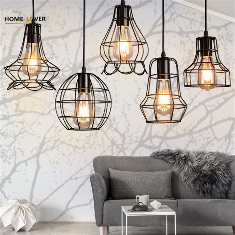Vintage Iron Pendant Light Industrial Loft Retro Droplight Bar Cafe Bedroom Restaurant American Country Style Hanging Lamp avize vintage iron pendant light loft industrial lighting glass guard design cage pendant lamp hanging lights e27 bar cafe restaurant