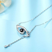 TIFF 925 sterling silver necklace, eyes, love memory 100 languages I love you, simple ladies gift jewelry.