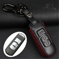 Car Genuine Leather Bag Remote Control Car Keychain Key Cover Case For Mazda CX-5 CX-7 3Button Smart Key L558