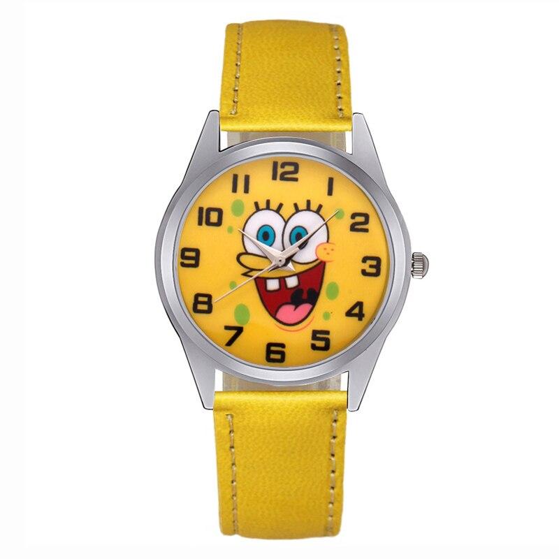 Cartoon Cute SpongeBob Style Children's Watches Kids Students Girls Quartz Leather Strap Wrist Watch JC34
