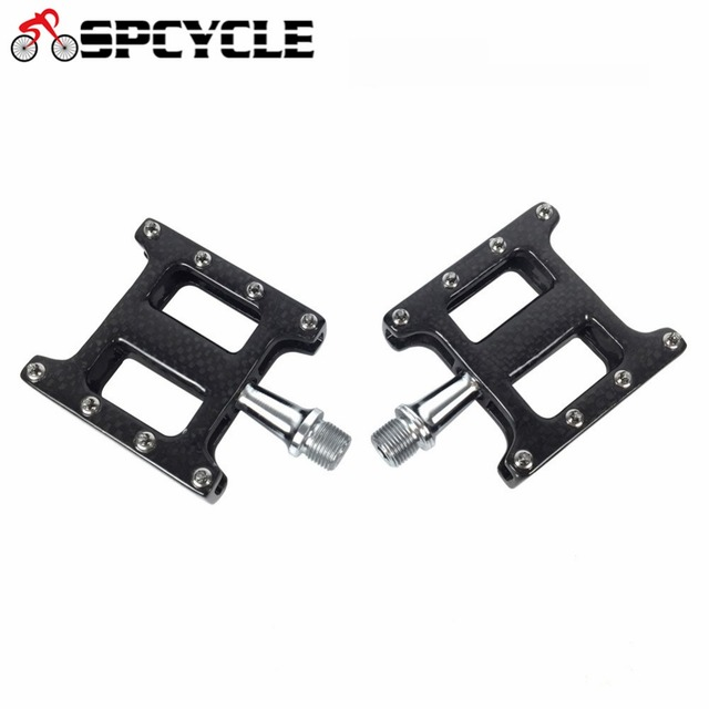 Spcycle Full Carbon Bicycle Pedals Cr-Mo Axle Ultra-Light MTB Bicycle Road Mountain Bike Pedals 2 Bearings 3K carbon Body