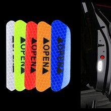 Adesivos refletores de advertência de segurança, 4 unidades, para porta de carro, adesivo aberto, distância, papel reflexivo anti colisão, adesivo decorativo