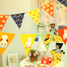cartoon colorful flags string party activities decoration 8 pcs/lot Free shipping