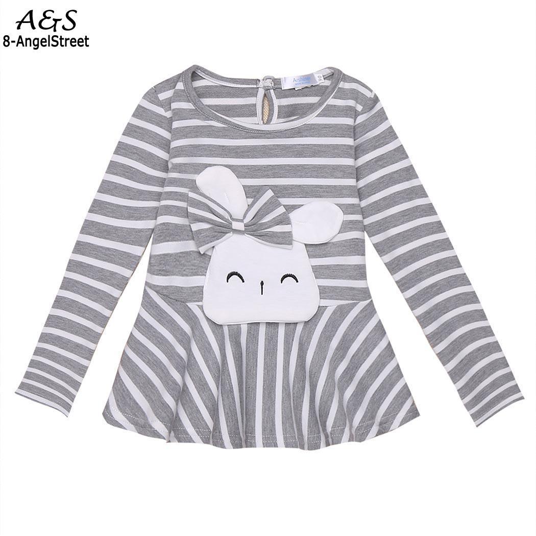 Ruffle O-Neck Long Cute Print Sleeve Kids Girl T-Shirt Striped