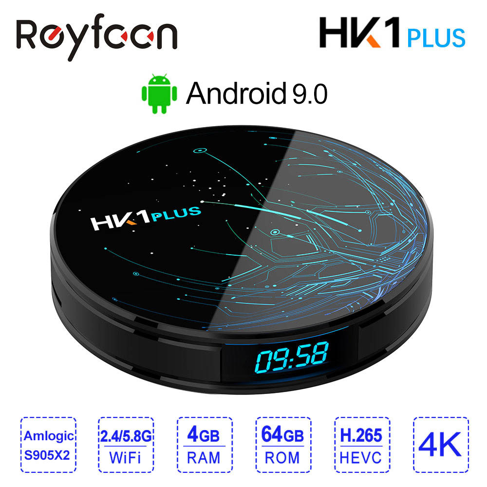 Reyfoon 4GB 64GB Android 8.1 Smart TV BOX HK1 PLUS Amlogic S905X2 Dual Wifi BT4.0