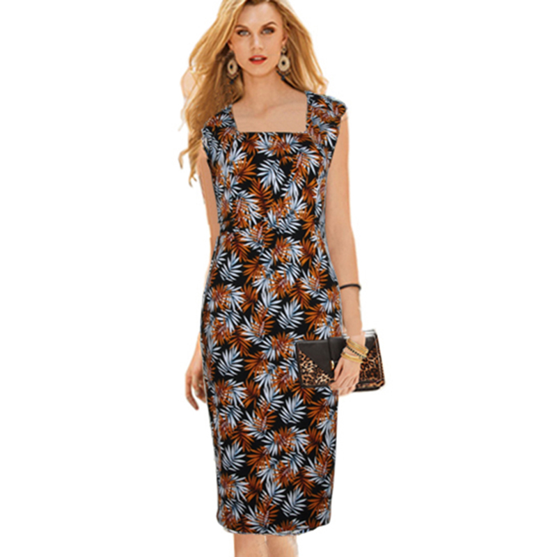 2018 New Fashion Womens Summer Elegant Square Neck Tunic Wear To Work - Γυναικείος ρουχισμός