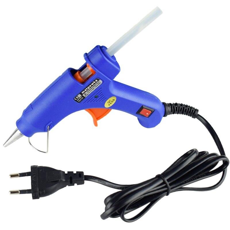 20 Вт клеевой пистолет высокой температуры нагреватель расплава горячий ремонт инструмент Тепловая пушка синий мини-пистолет EU штекер или с горячим расплавом мм 7 мм клеевой пистолет палочки