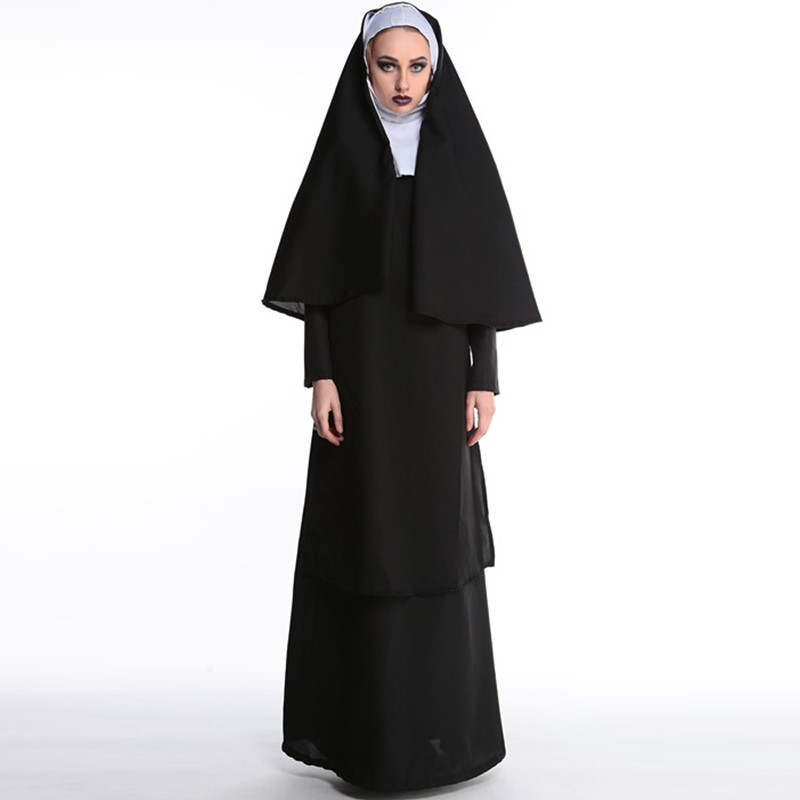 Adult Women Classic Nun Costume Halloween The Virgin Mary Costume Sexy Fancy Dress Sister Party Outfit The Role Of Nun Costumes