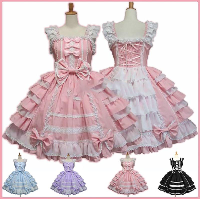 Women Alice Lolita Angel Pink Cotton Princess Dress Female Court Style Gothic Tank Dress Cute Anime Maid Layered Dress For Girl