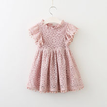 Summer New Childrens Clothing Sweet Girls Lace Mini Dress Kids Baby 2 Years Princess For 1st Birthday Gift