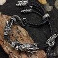 El punk Sasang Sagrado Nube Jinete de Dragón Negro Pulsera de acero inoxidable de los hombres de cuero marcas telar
