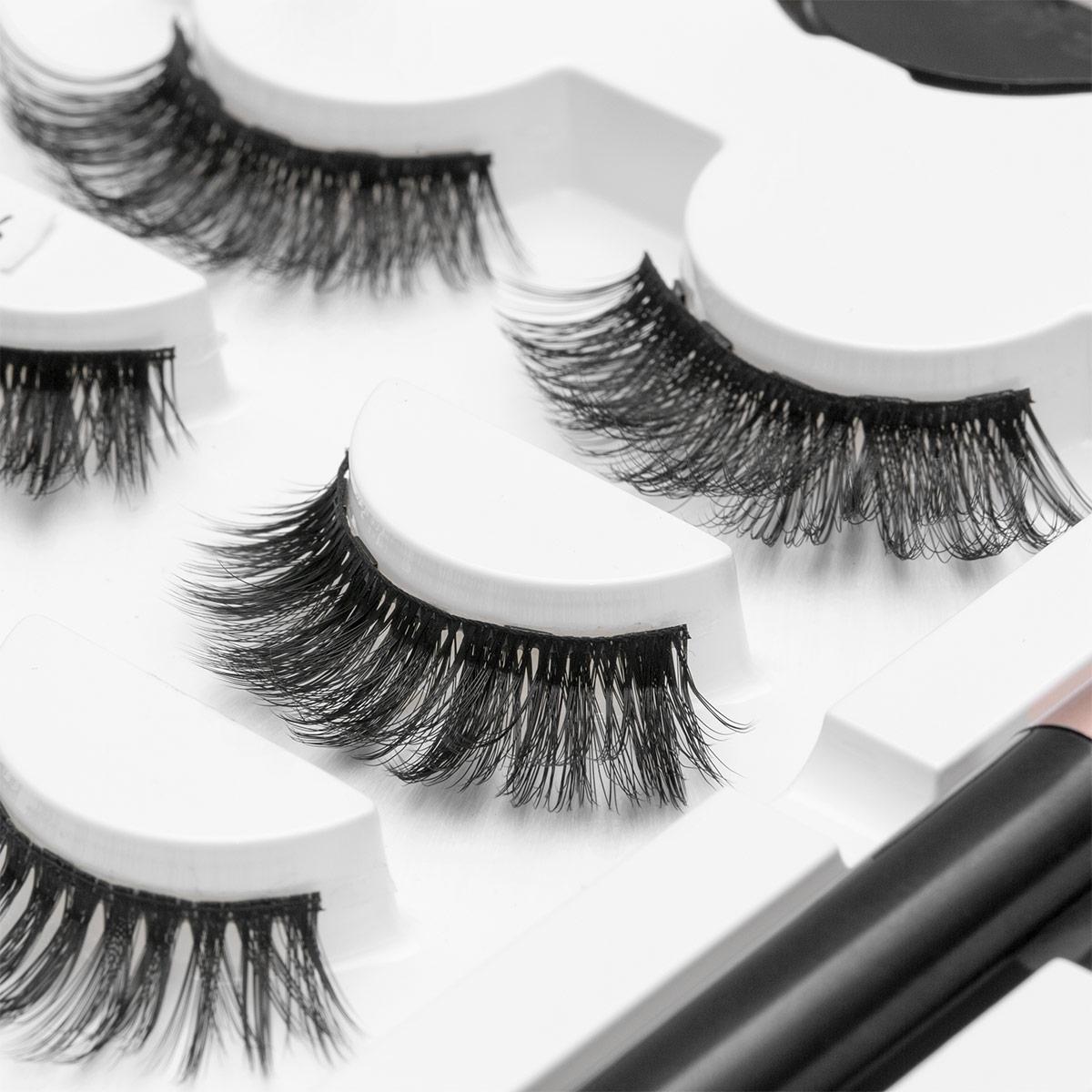 3pair 5 Magnetic Eyelashes 3D Faux mink Eyelashes Magnet Lashes Magnetic Liquid Eyeliner&Magnetic False Eyelashes & Tweezer Set 2
