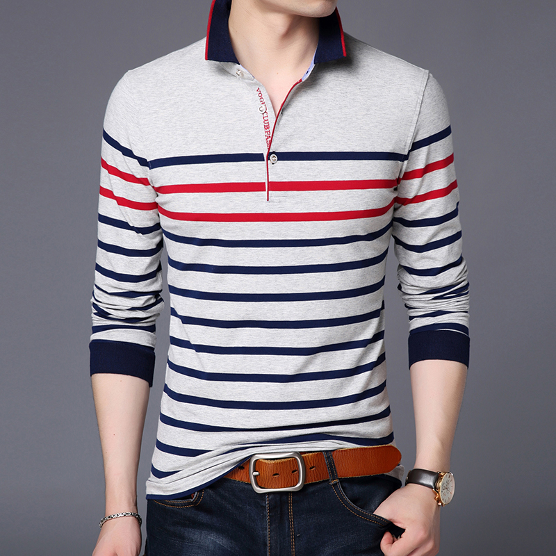 2019 New Fashions Brand Polo Shirt Mens Striped  Slim Fit Long Sleeve Mercerized Cotton Stand Color Polos Casual Men's Clothing