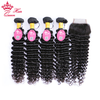 Queen Hair 4 Bundles With Closure Peruvian Virgin Hair With Lace Closure Deep Wave 5pcs/Lot Human Hair Natural Color