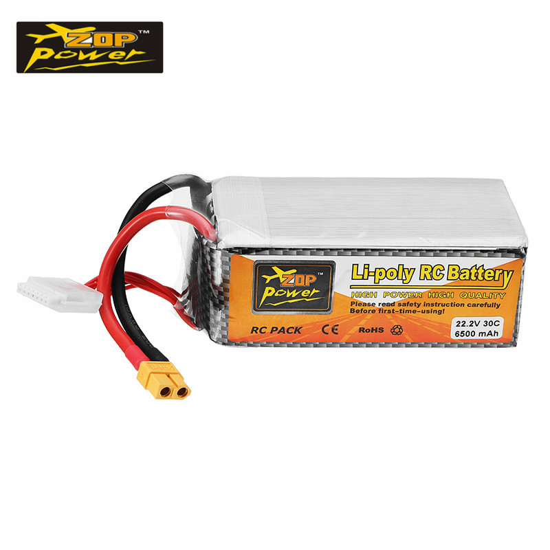 High Power ZOP Power 22.2V 6500mAh 30C 6S XT60 Plug Rechargeable Lipo Battery for RC Helicopter Car Models Spare Parts Hot New