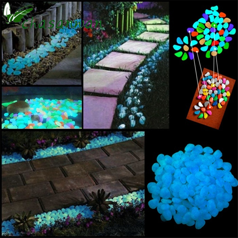 100x Glow In The Dark Pebbles Stones Garden Vase Luminous