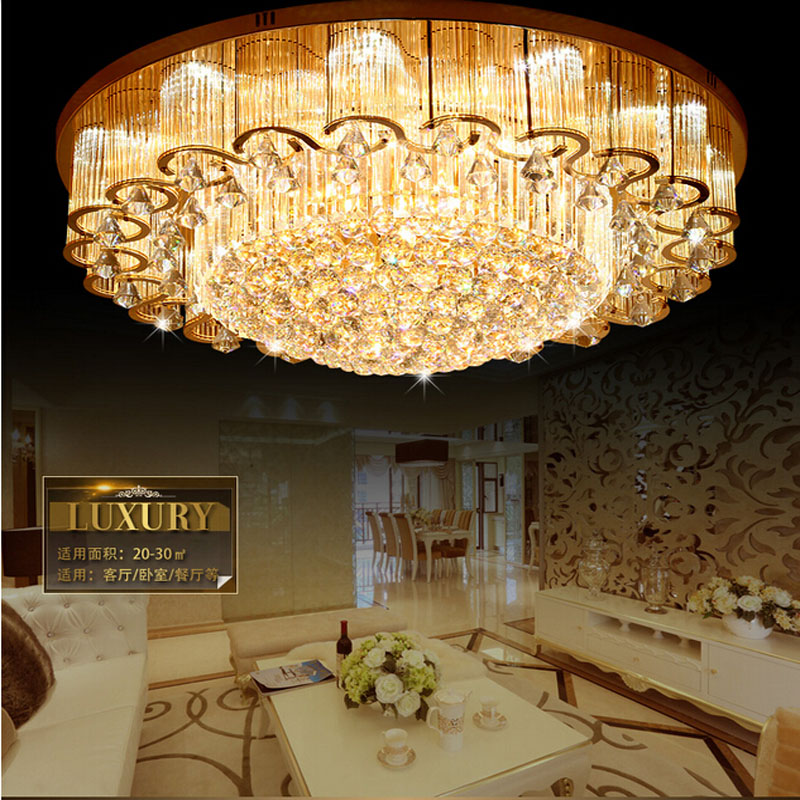 S gold living room crystal ceiling lamp round hall crystal light atmosphere luxury lighting bedroom lamp Gold Ceiling lamps