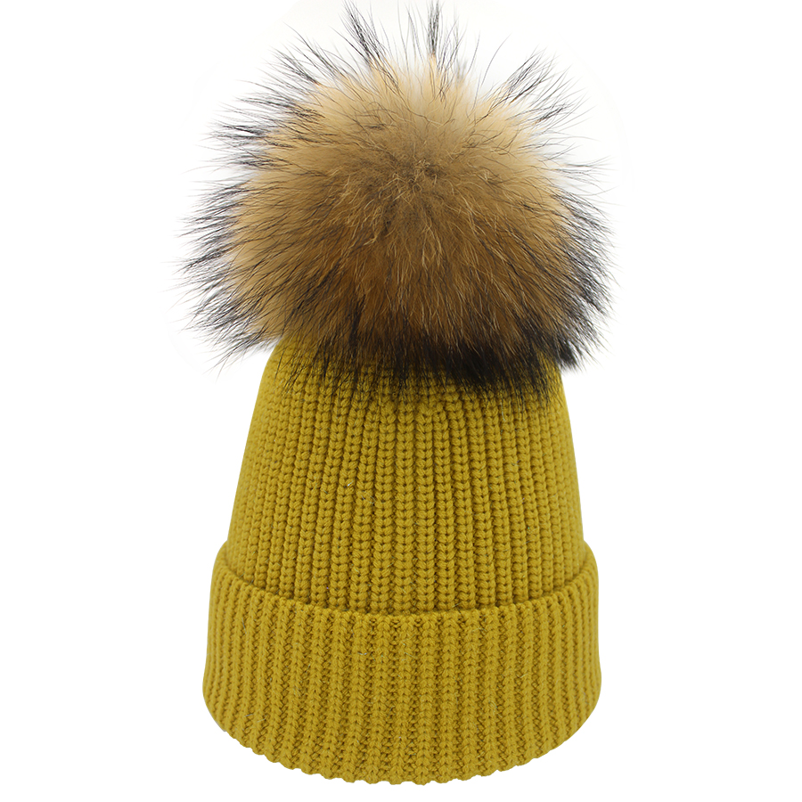 06552034214 Hat Silk With Fur Pom Pom