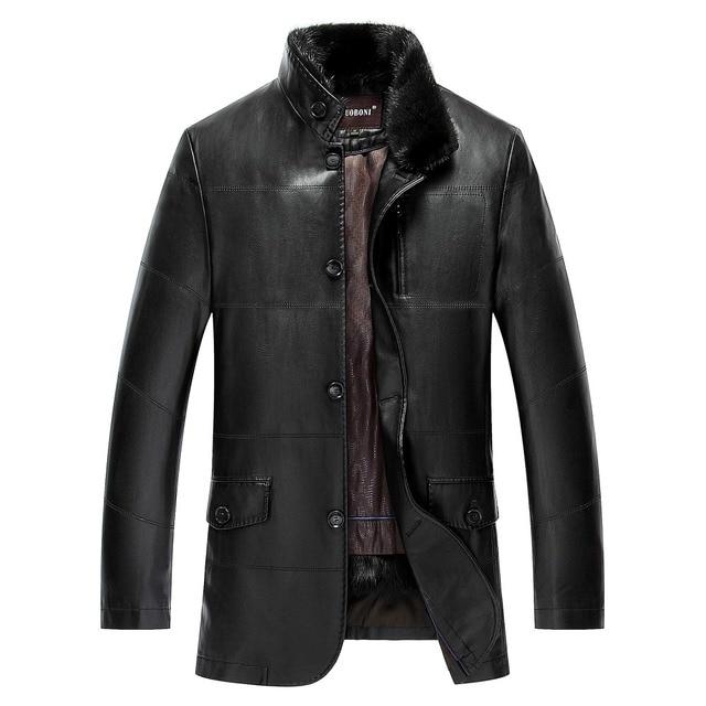 New arrival men lapel fur winter PU leather simulation leather jacket men's thicker fur plus velvet fashion warm size MLXL2XL3XL