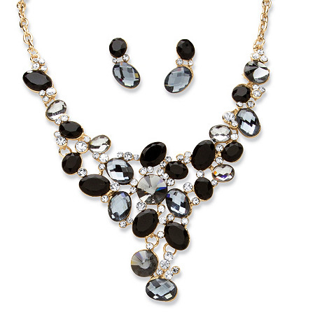 Palmbeach Jewelry 54645 2 Piece Black And Grey Crystal Necklace And Earrings Set In Gold-colored Tone
