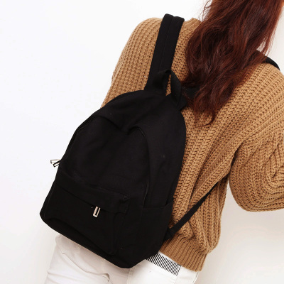 Image 3 - Simple Classic Designe Canvas Women Backpack School Student Book Bag Leisure Travel Young-in Backpacks from Luggage & Bags